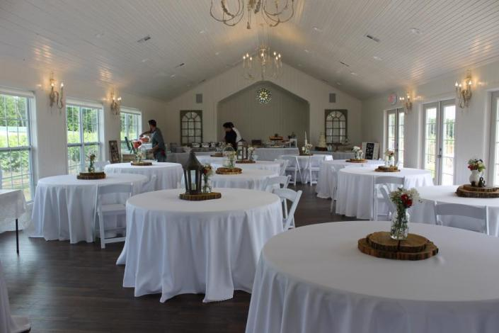 [Image: Our wedding chapel and reception hall can seat up to 185 guests. Let us help you make the area divine and dignified for your momentous wedding day!]