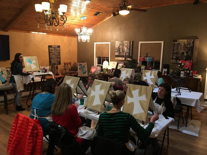 [Image: From small to larger classes, our instructors will help and teach all newcomers and regulars alike how to paint.]