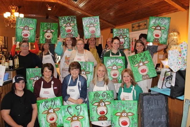 [Image: Friends and family can come together to paint while enjoying our refreshing wine created at Waddell Vineyards.]